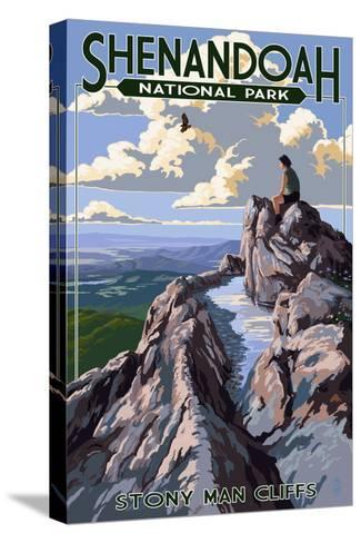 Shenandoah National Park, Virginia - Stony Man Cliffs View-Lantern Press-Stretched Canvas Print