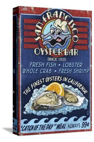 San Francisco, California - Oyster Bar-Lantern Press-Stretched Canvas Print