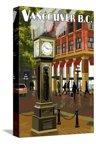 Vancouver, BC - Steam Clock-Lantern Press-Stretched Canvas Print