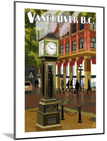 Vancouver, BC - Steam Clock-Lantern Press-Mounted Art Print