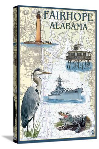 Fairhope, Alabama - Nautical Chart-Lantern Press-Stretched Canvas Print