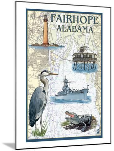 Fairhope, Alabama - Nautical Chart-Lantern Press-Mounted Art Print