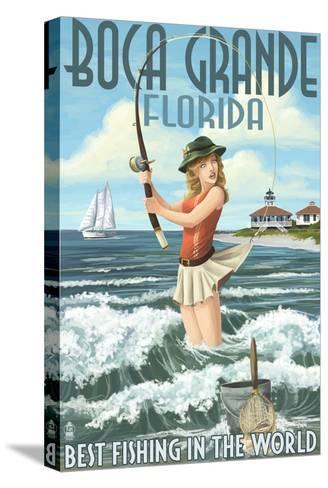 Boca Grande, Florida - Pinup Girl Fishing-Lantern Press-Stretched Canvas Print