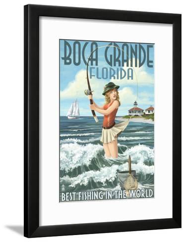 Boca Grande, Florida - Pinup Girl Fishing-Lantern Press-Framed Art Print