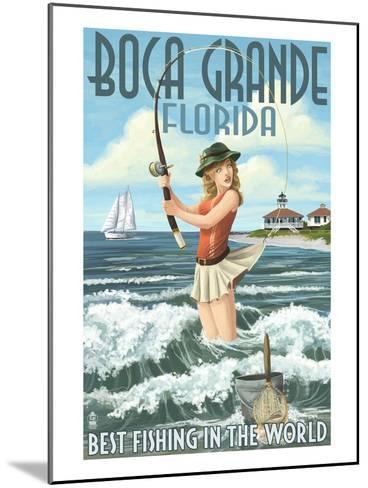 Boca Grande, Florida - Pinup Girl Fishing-Lantern Press-Mounted Art Print