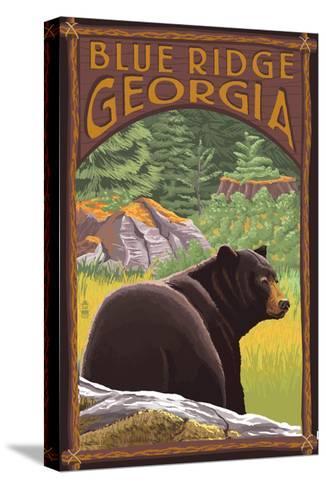 Blue Ridge, Georgia - Bear in Forest-Lantern Press-Stretched Canvas Print