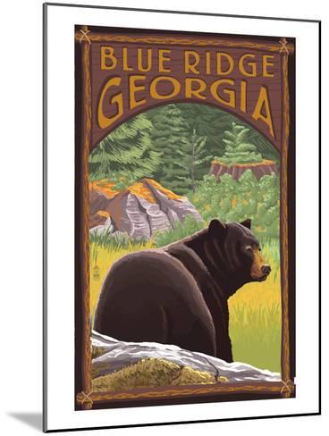 Blue Ridge, Georgia - Bear in Forest-Lantern Press-Mounted Art Print