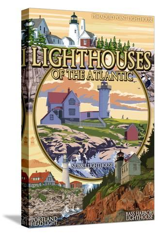 Lighthouses of Maine Montage-Lantern Press-Stretched Canvas Print