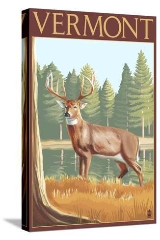 Vermont - White-Tailed Deer-Lantern Press-Stretched Canvas Print