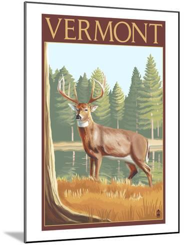 Vermont - White-Tailed Deer-Lantern Press-Mounted Art Print