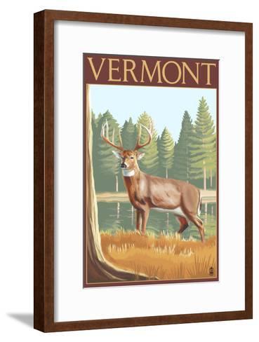 Vermont - White-Tailed Deer-Lantern Press-Framed Art Print