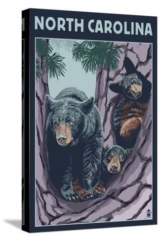 North Carolina - Bears in Tree-Lantern Press-Stretched Canvas Print