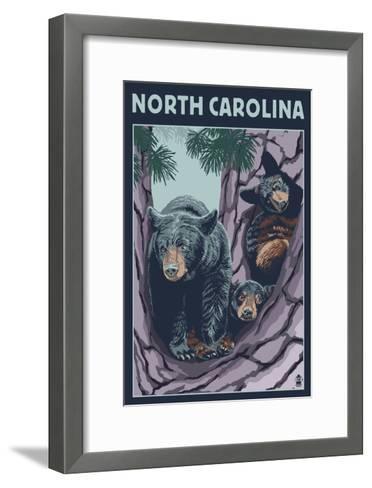 North Carolina - Bears in Tree-Lantern Press-Framed Art Print
