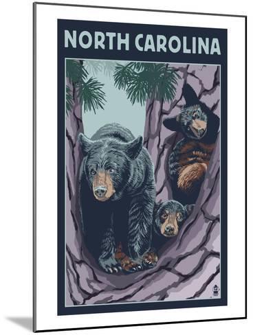 North Carolina - Bears in Tree-Lantern Press-Mounted Art Print