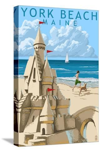 York Beach, Maine - Sand Castle-Lantern Press-Stretched Canvas Print