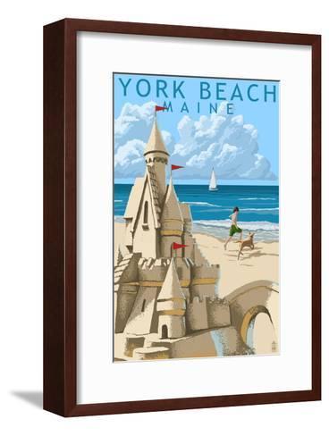 York Beach, Maine - Sand Castle-Lantern Press-Framed Art Print