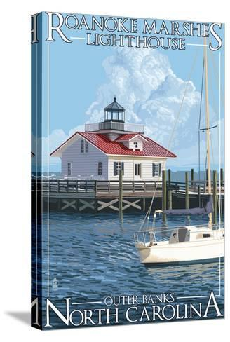 Roanoke Marshes Lighthouse - Outer Banks, North Carolina-Lantern Press-Stretched Canvas Print