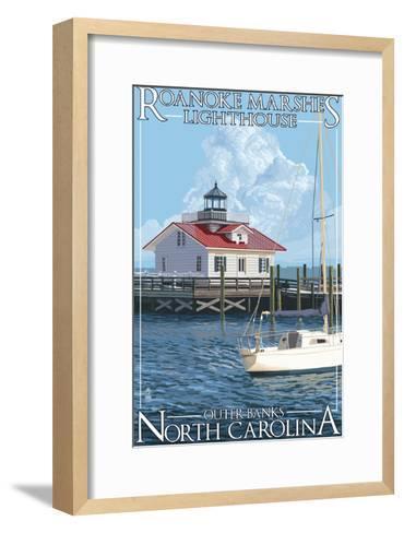 Roanoke Marshes Lighthouse - Outer Banks, North Carolina-Lantern Press-Framed Art Print