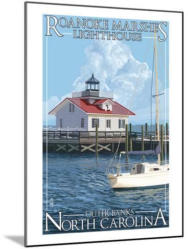 Roanoke Marshes Lighthouse - Outer Banks, North Carolina-Lantern Press-Mounted Art Print