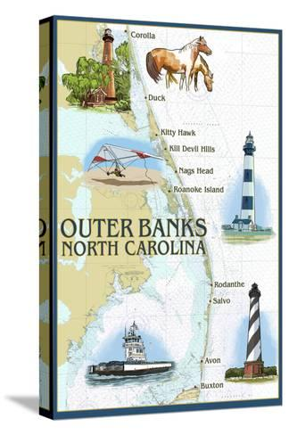 Outer Banks, North Carolina - Nautical Chart-Lantern Press-Stretched Canvas Print