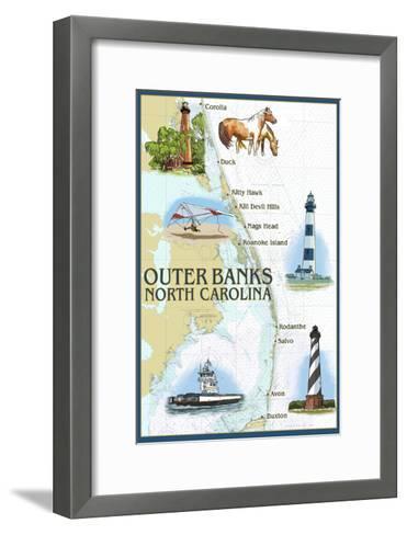Outer Banks, North Carolina - Nautical Chart-Lantern Press-Framed Art Print