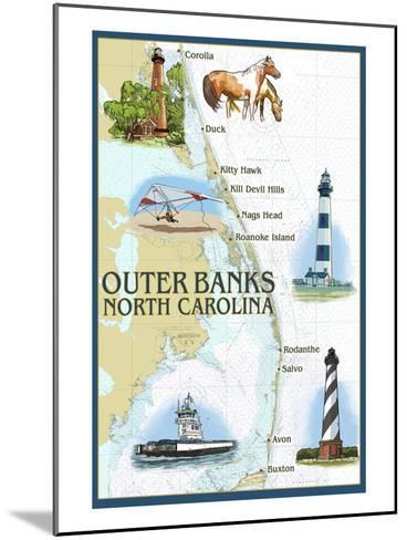 Outer Banks, North Carolina - Nautical Chart-Lantern Press-Mounted Art Print