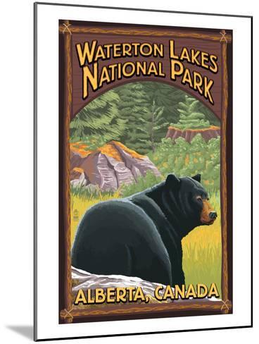 Waterton Lakes National Park, Canada - Bear in Forest-Lantern Press-Mounted Art Print
