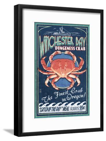 Winchester Bay, Oregon - Dungeness Crab-Lantern Press-Framed Art Print