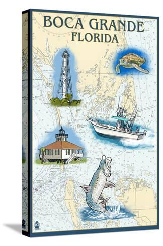 Boca Grande, Florida - Nautical Chart-Lantern Press-Stretched Canvas Print