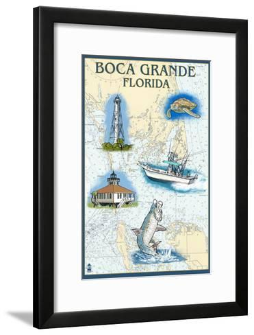 Boca Grande, Florida - Nautical Chart-Lantern Press-Framed Art Print