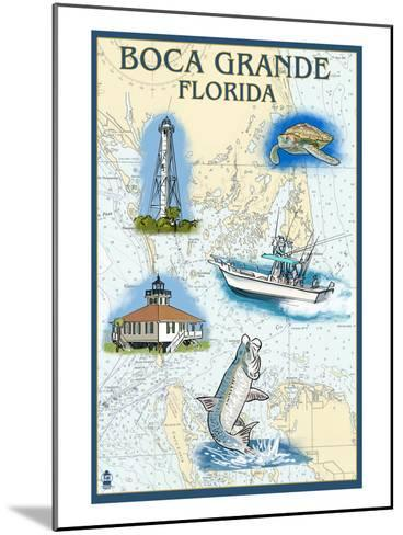Boca Grande, Florida - Nautical Chart-Lantern Press-Mounted Art Print