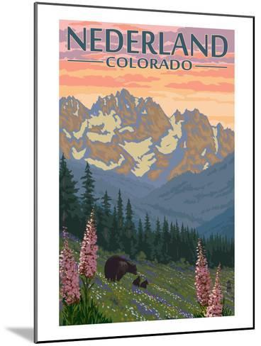 Nederland, Colorado - Bears and Spring Flowers-Lantern Press-Mounted Art Print