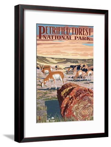 Desert and Antelope - Petrified Forest National Park-Lantern Press-Framed Art Print