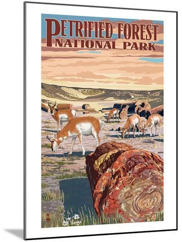 Desert and Antelope - Petrified Forest National Park-Lantern Press-Mounted Art Print