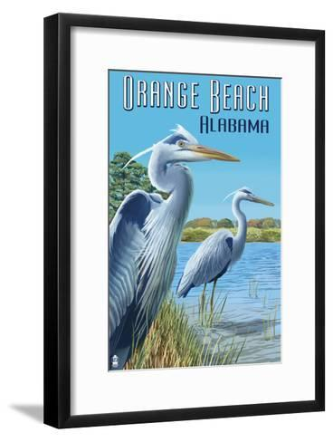 Orange Beach, Alabama - Blue Heron-Lantern Press-Framed Art Print