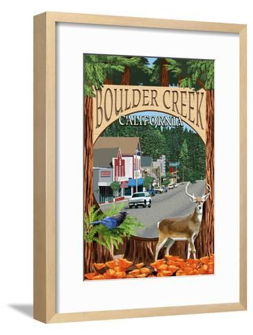 Boulder Creek, California - Montage Scenes-Lantern Press-Framed Art Print