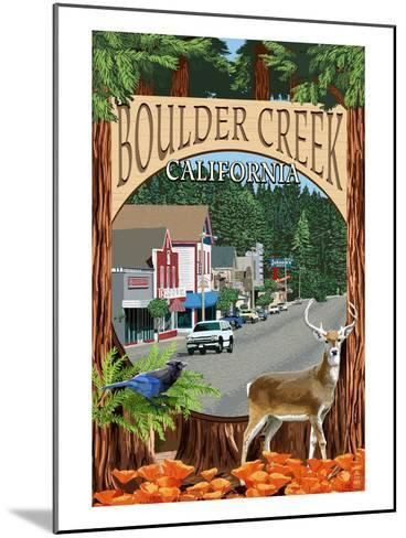 Boulder Creek, California - Montage Scenes-Lantern Press-Mounted Art Print