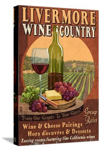 Livermore, California - Wine-Lantern Press-Stretched Canvas Print