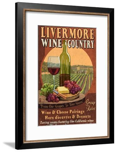 Livermore, California - Wine-Lantern Press-Framed Art Print