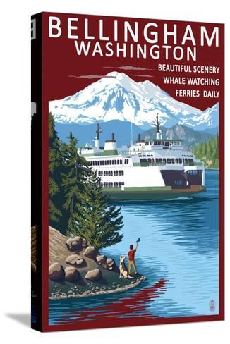 Bellingham, Washington - Ferry Scene-Lantern Press-Stretched Canvas Print