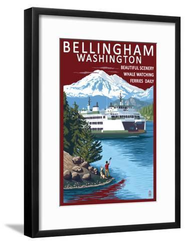 Bellingham, Washington - Ferry Scene-Lantern Press-Framed Art Print