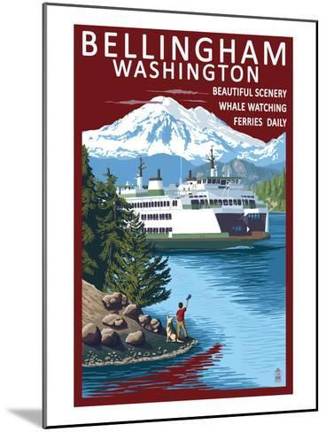 Bellingham, Washington - Ferry Scene-Lantern Press-Mounted Art Print
