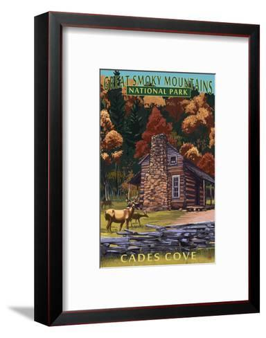 Cades Cove and John Oliver Cabin - Great Smoky Mountains National Park, TN-Lantern Press-Framed Art Print