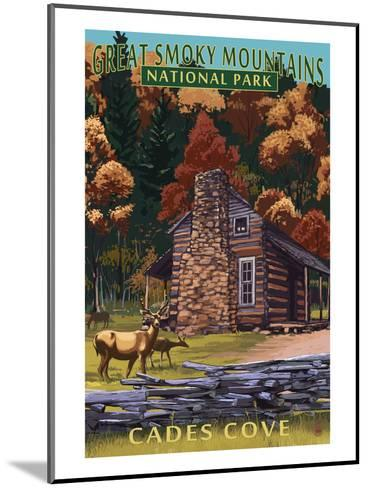Cades Cove and John Oliver Cabin - Great Smoky Mountains National Park, TN-Lantern Press-Mounted Art Print