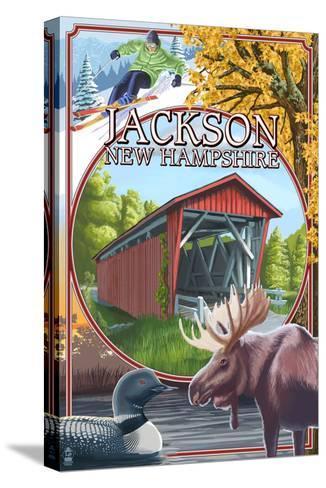 Jackson, New Hampshire Montage-Lantern Press-Stretched Canvas Print