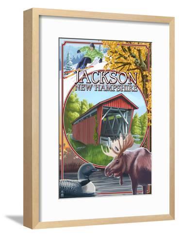 Jackson, New Hampshire Montage-Lantern Press-Framed Art Print