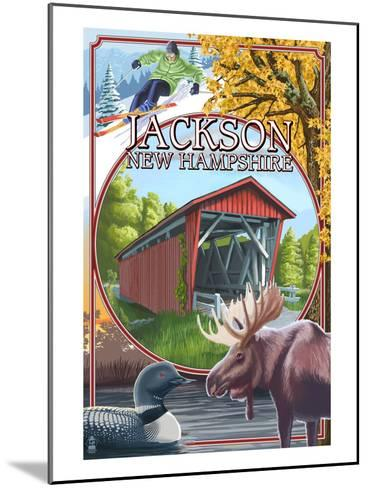 Jackson, New Hampshire Montage-Lantern Press-Mounted Art Print