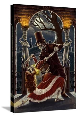 Skeletons Dancing in Graveyard-Lantern Press-Stretched Canvas Print