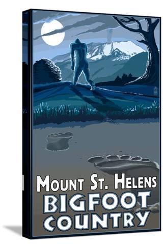 Mount St. Helens - Bigfoot Country-Lantern Press-Stretched Canvas Print