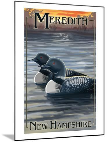 Meredith, New Hampshire - Loons-Lantern Press-Mounted Art Print
